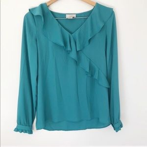 LOFT blue blouse w ruffles in front XS